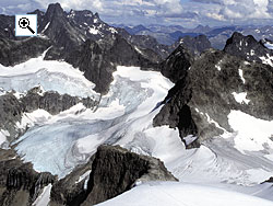 Looking down the glaciated east face of Store Ringstind