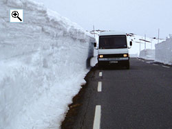 Even in early June the snow drifts beside the Sognefjell road can exceed 3m