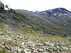 The lush slopes on the south side of Semelholstind