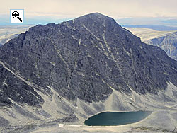 Sagtinden from the south east showing the south arete on the left and the north ridge on the right