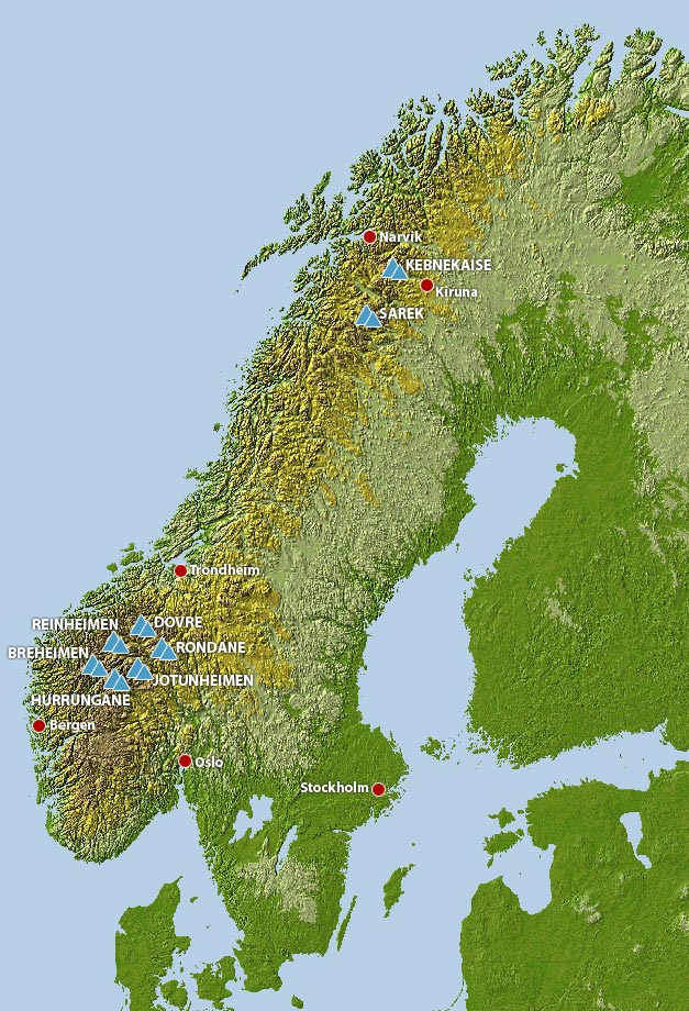Scandinavian Mountains - Norway map mountains